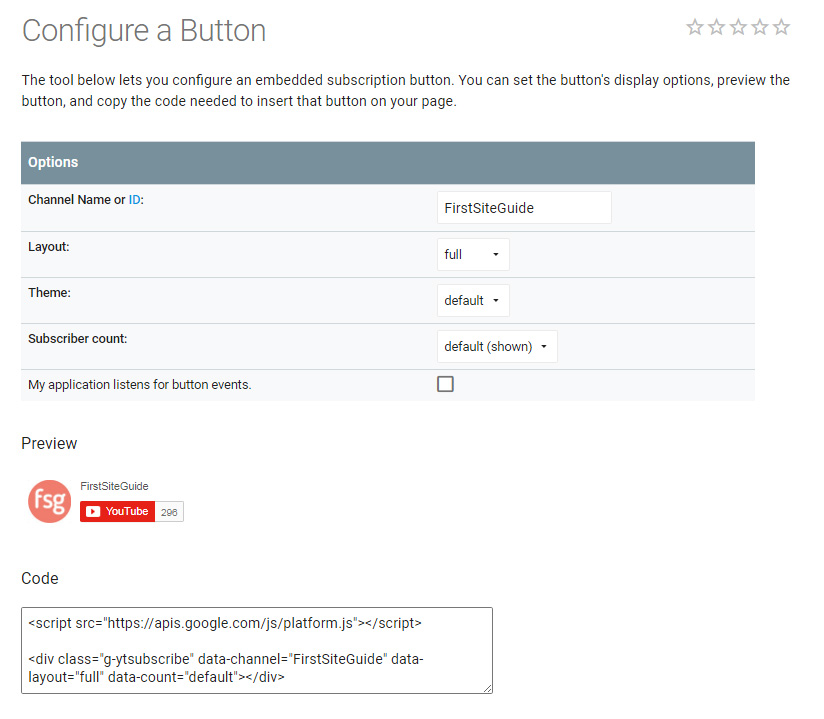 Configure Youtube subscribe button