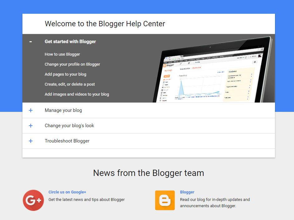 Centro assistenza di Blogger