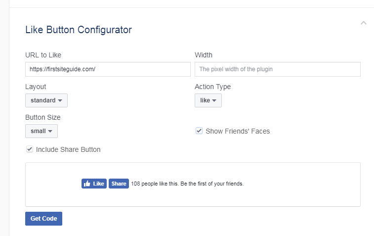 Facebook Like Button Configurator