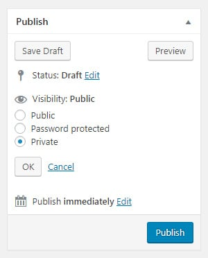 Make private post in WordPress