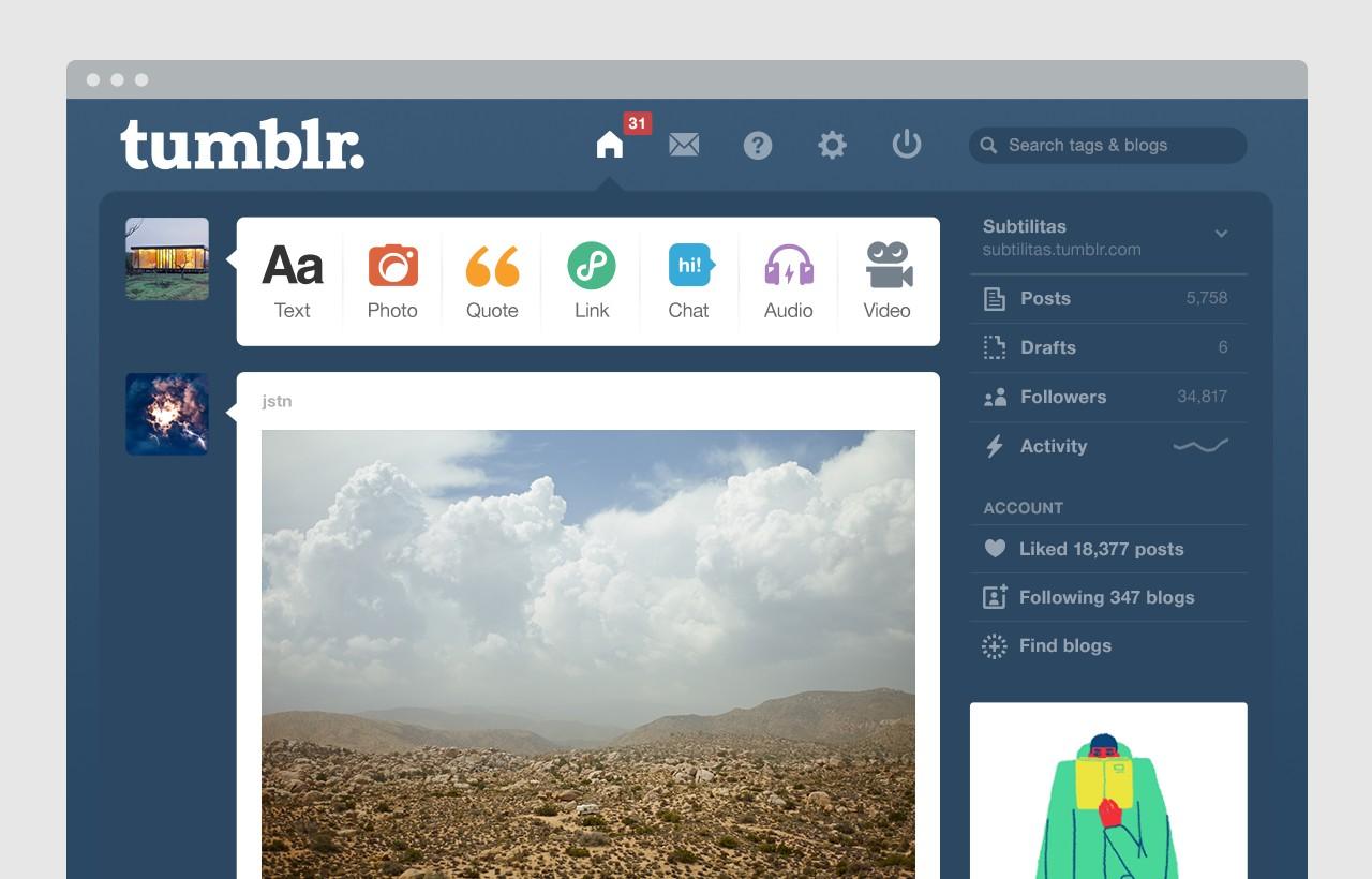 Tumblr dashboard