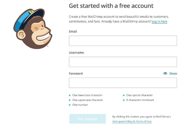 MailChimp Signing up