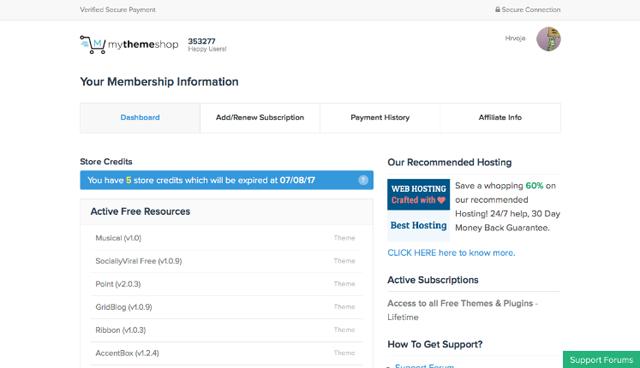 MyThemeShop Signing up