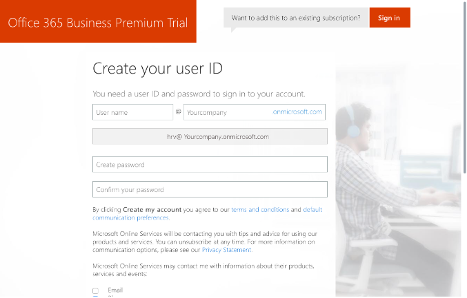 Office 365 Signing up
