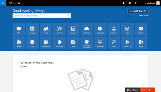 Office 365 User Panel 2