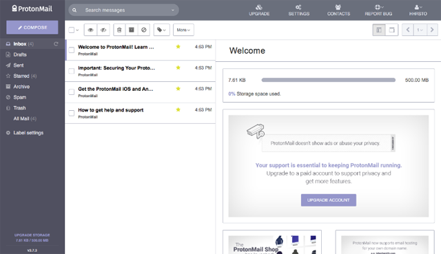 ProtonMail User Panel 1