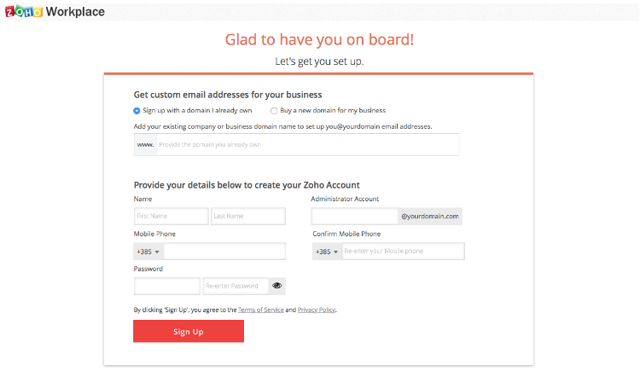 Zoho Mail Signing up