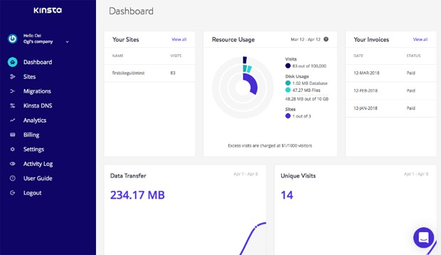 Kinsta customer portal