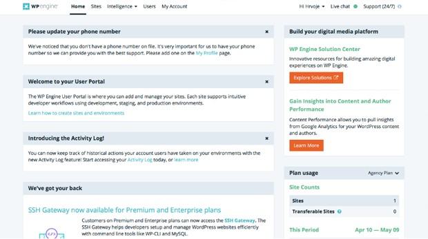 WP Engine customer portal