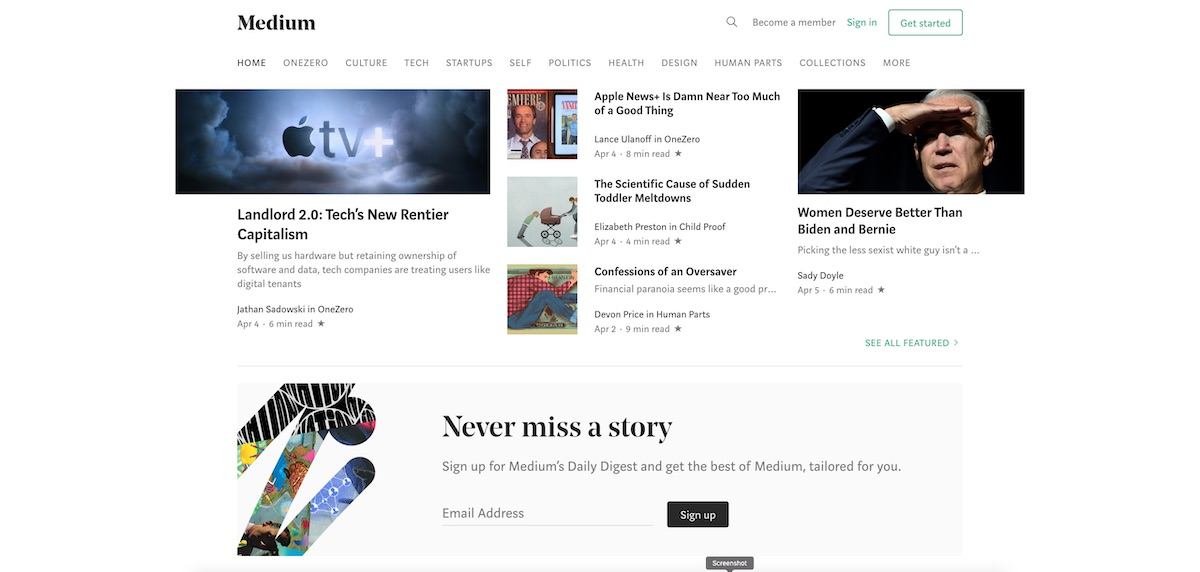 medium home page