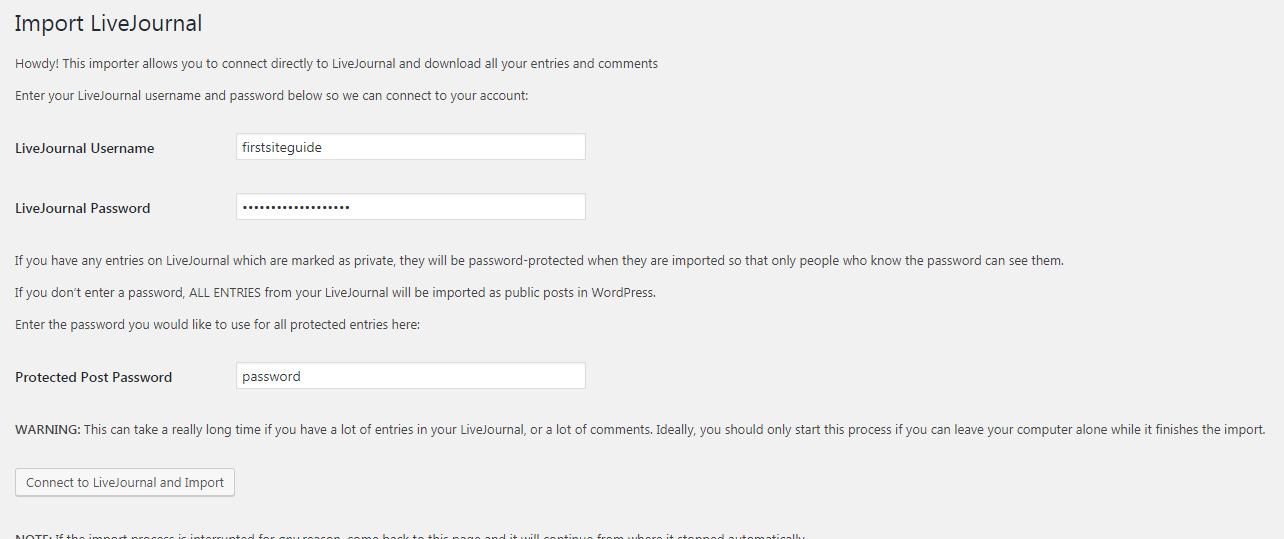 LiveJournal Importer