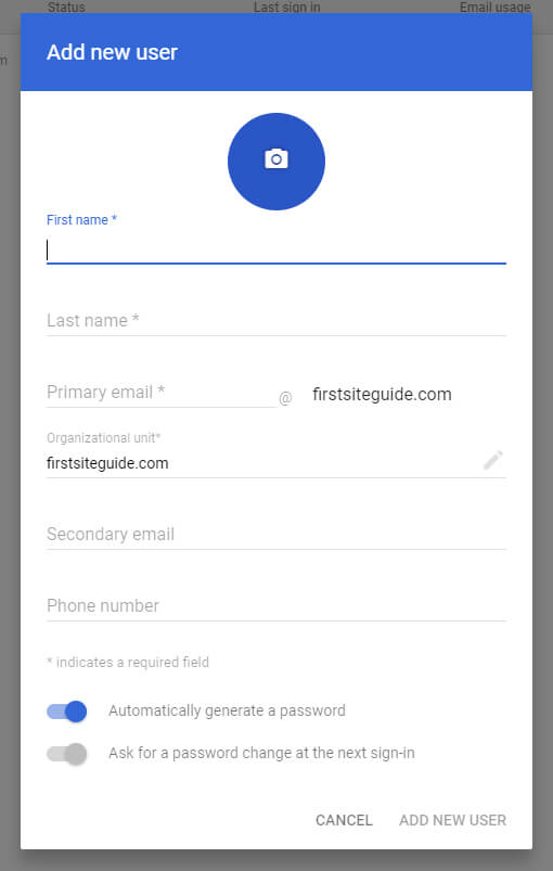 gsuite add new user
