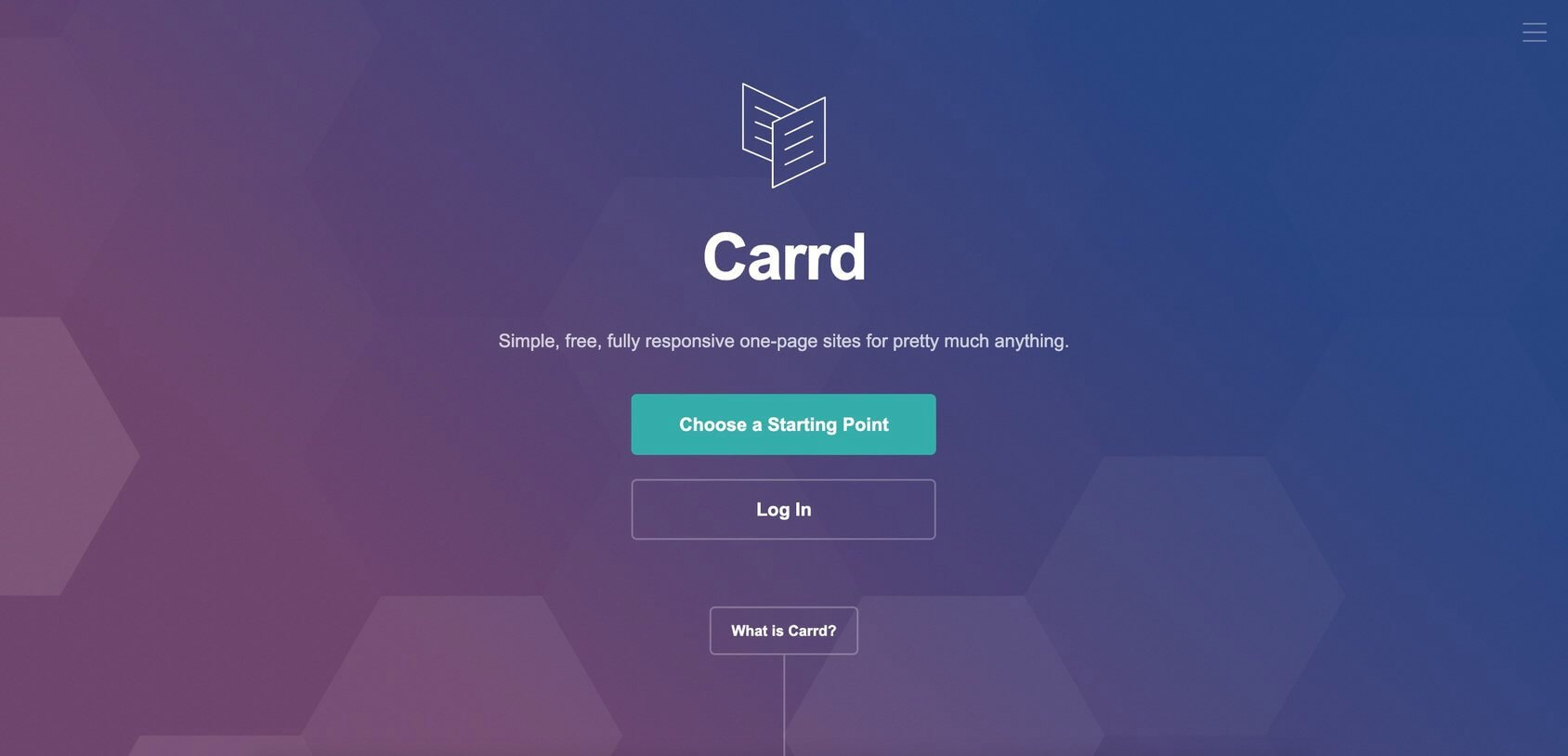 Carrd homepage