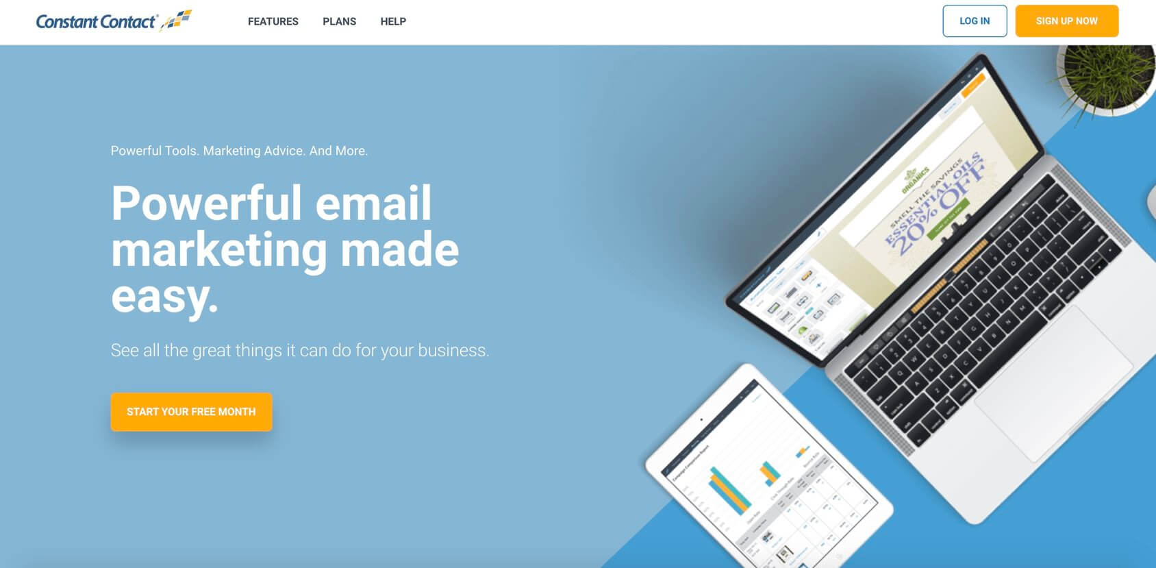 Homepage di Constant Contact