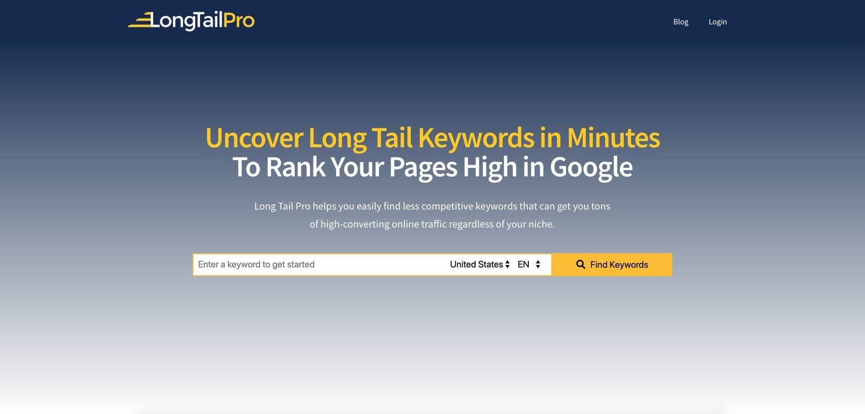 LongTail Pro homepage