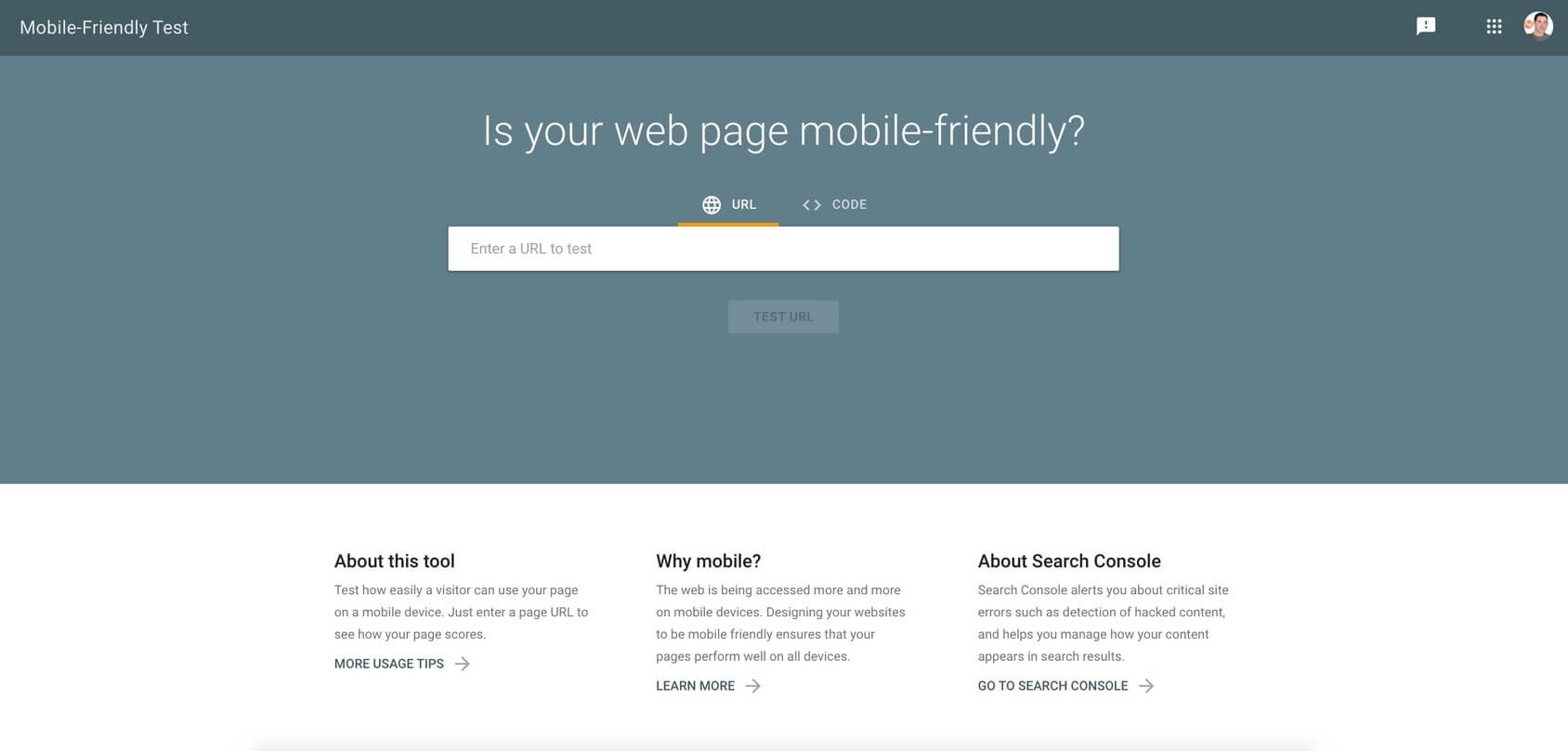 Google's Mobile-Friendly homepage
