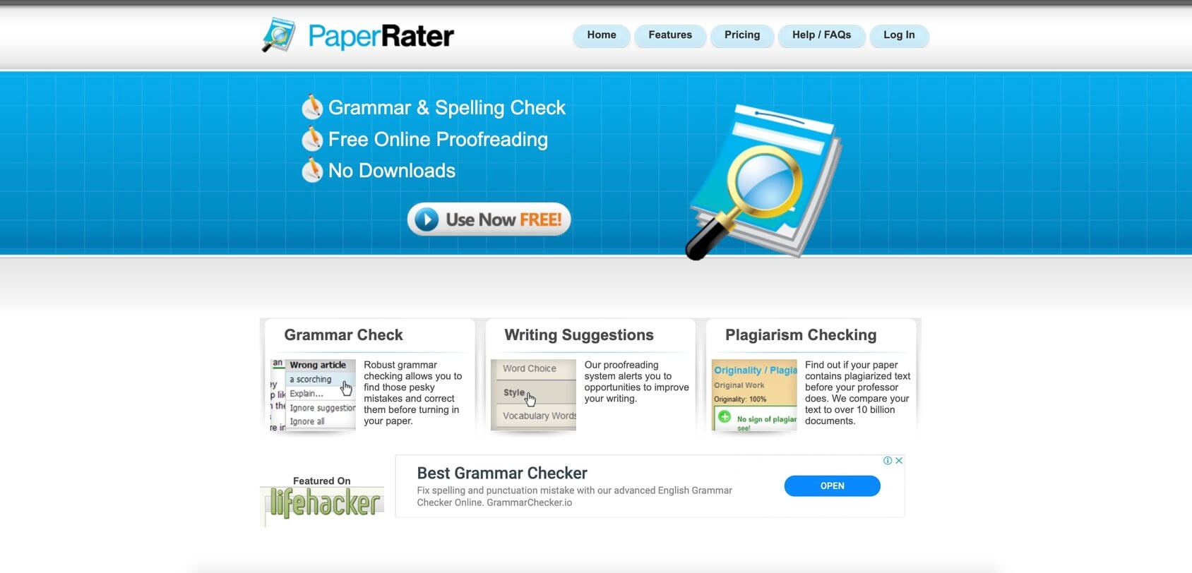 paper rater tool homepage