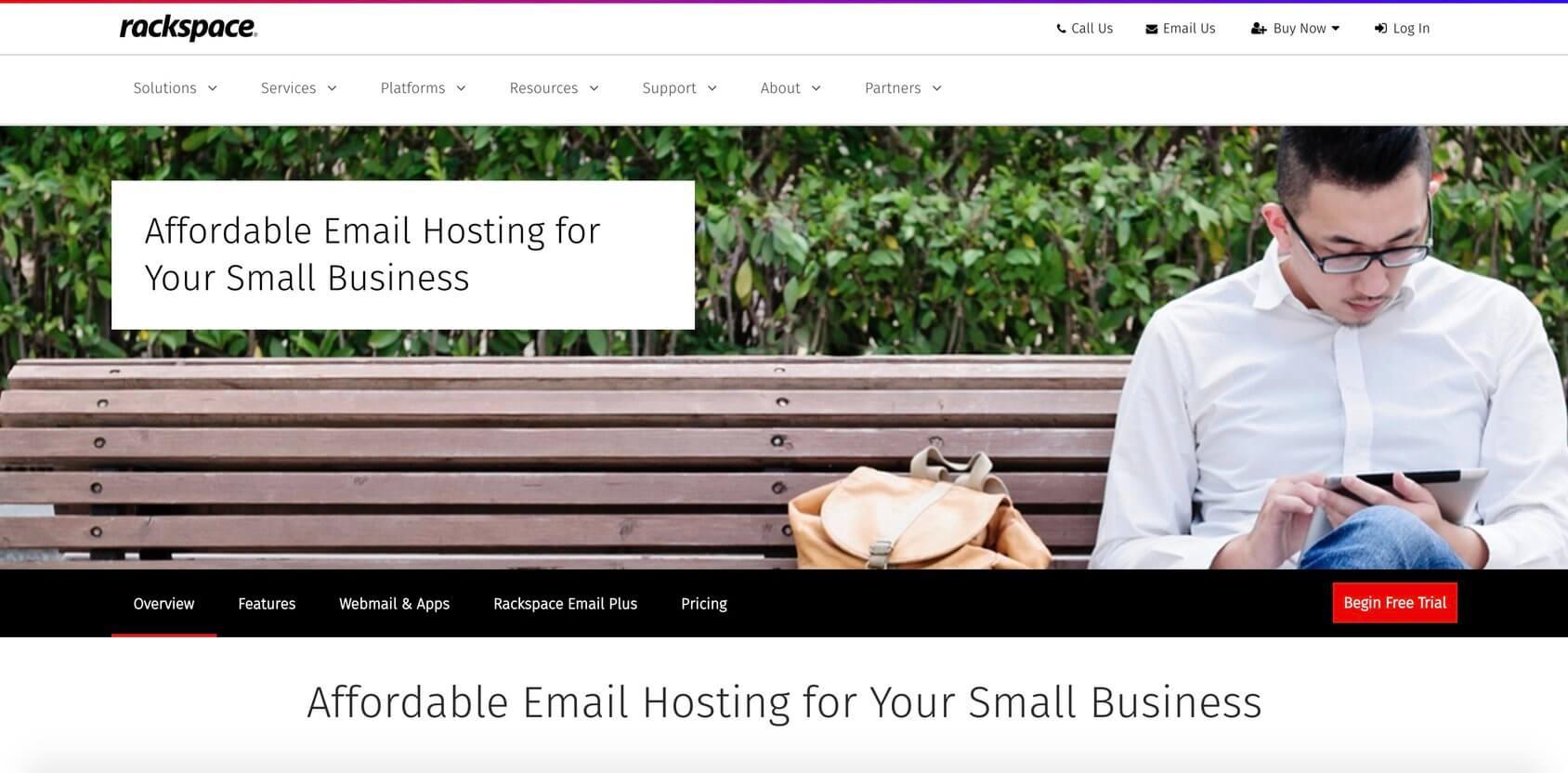 Rackspace Email homepage