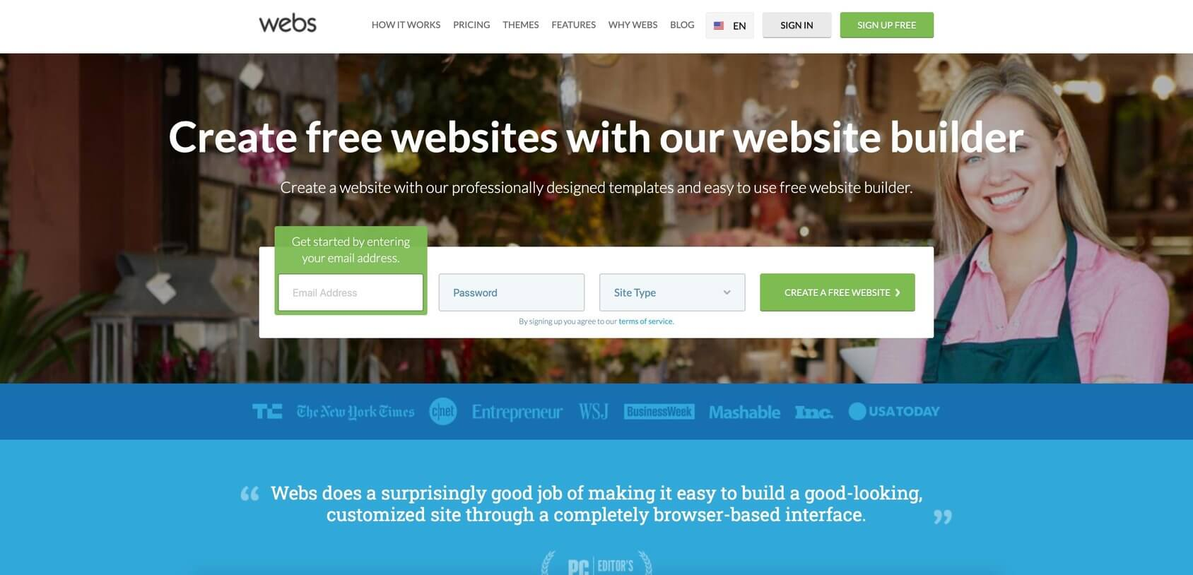 Webs homepage