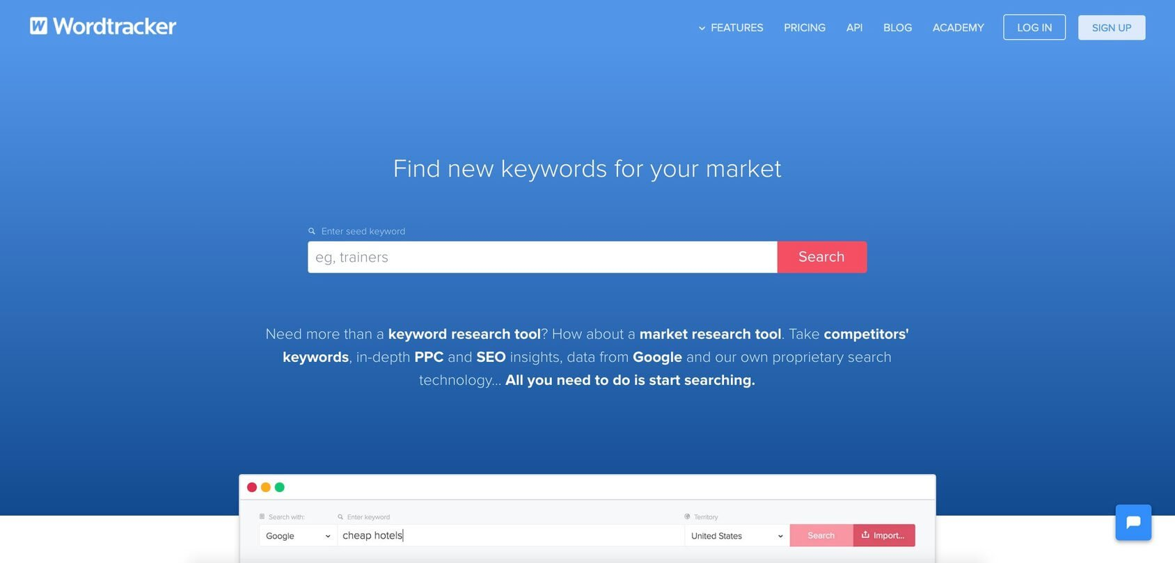 Wordtracker homepage