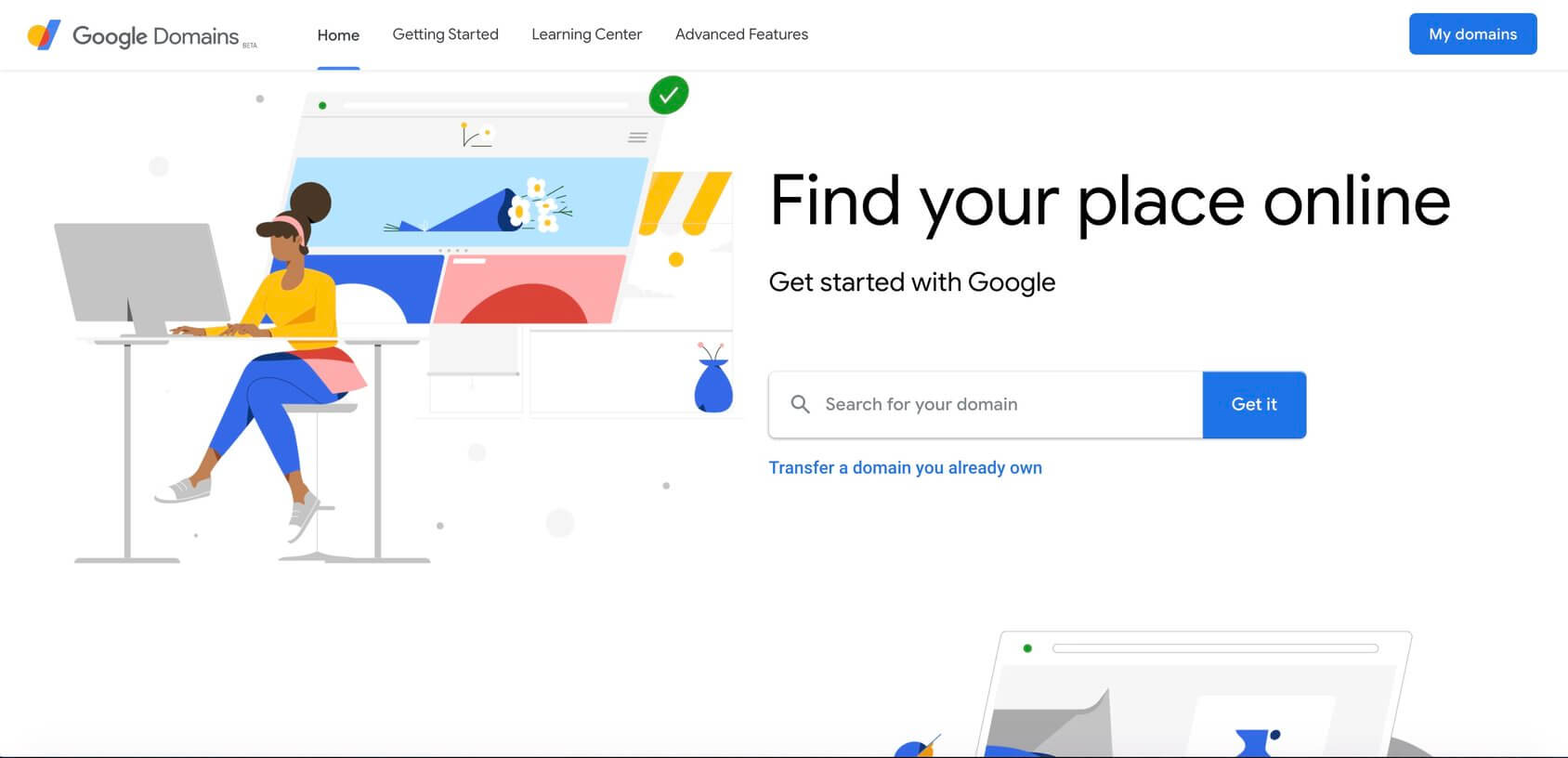 Google Domains homepage