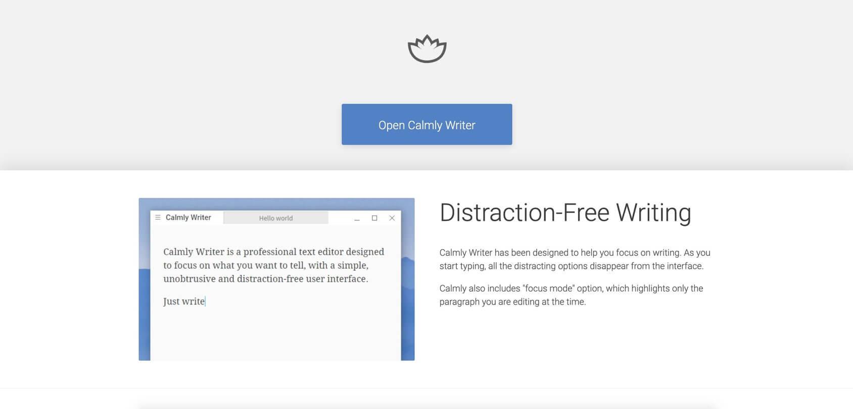 Calmly Writer homepage