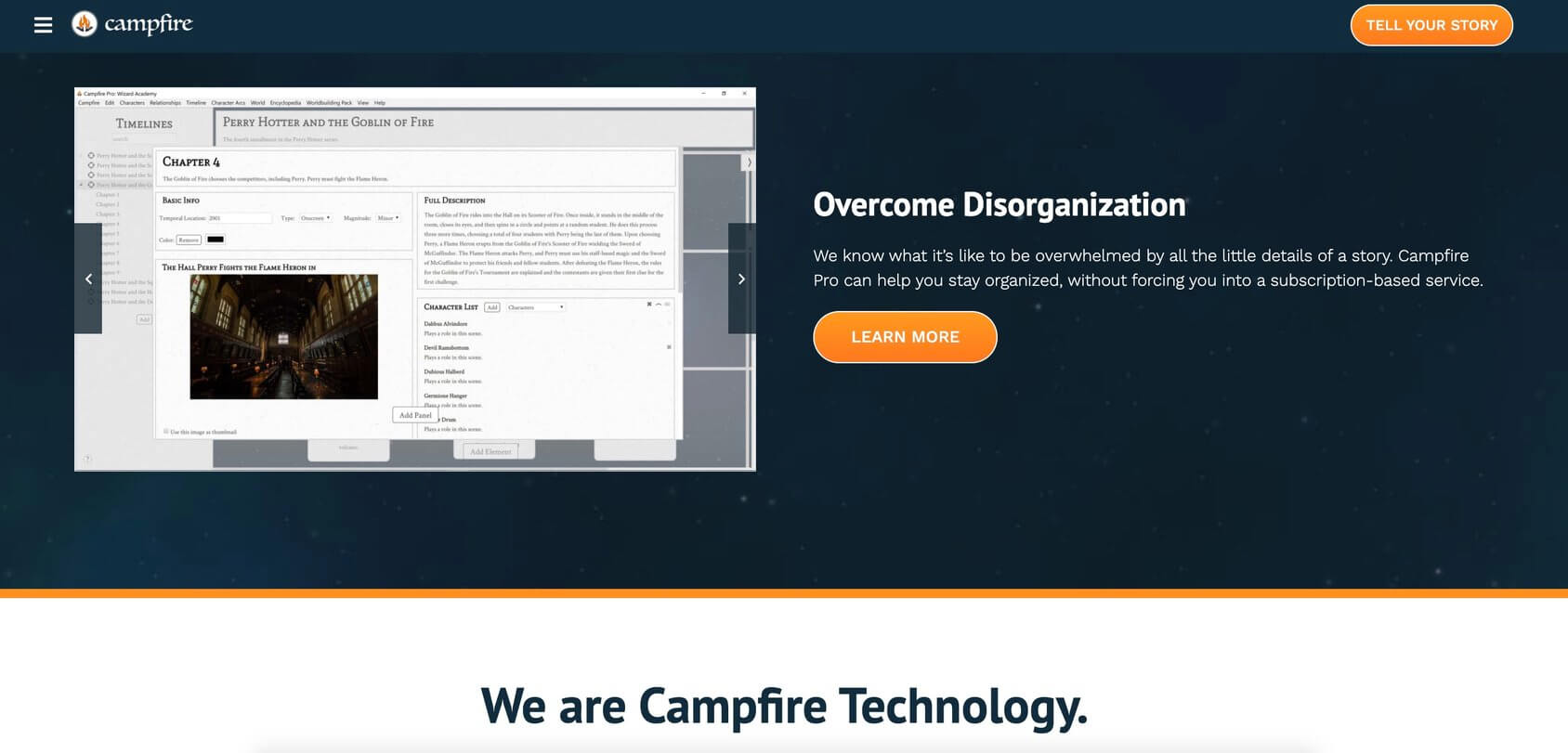 Campfire homepage