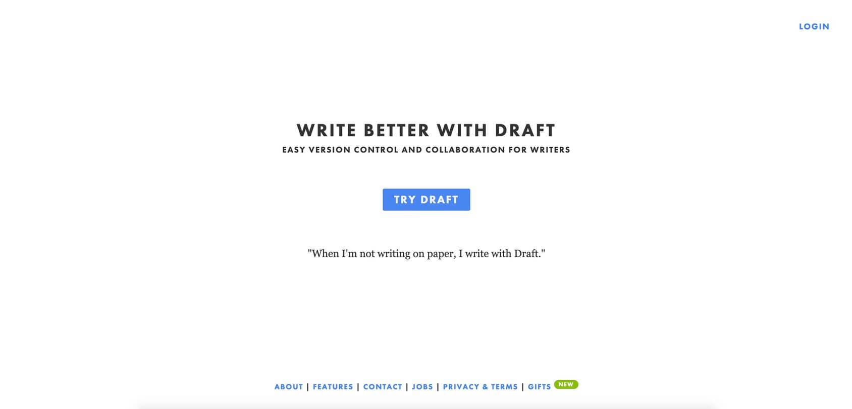 Draftin homepage