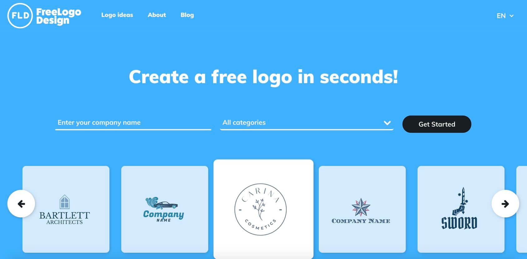 FreeLogoDesign homepage
