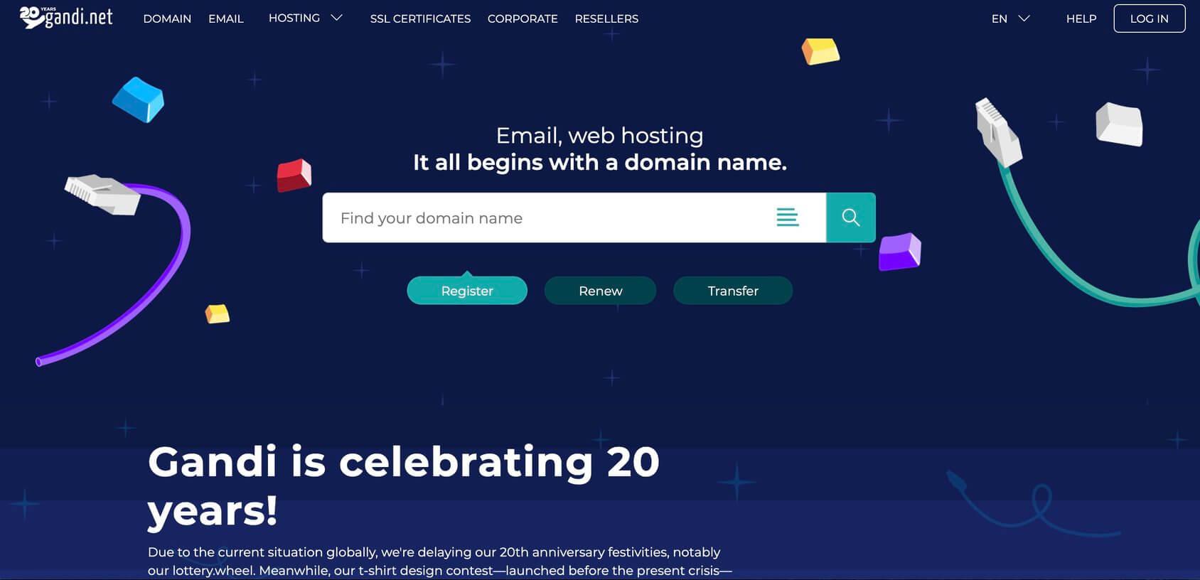 Gandi homepage