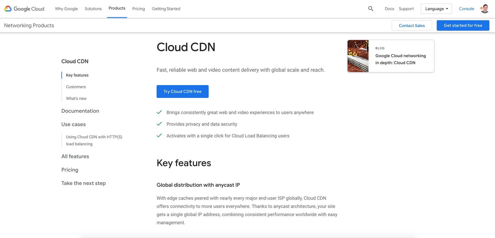 Google Cloud CDN homepage
