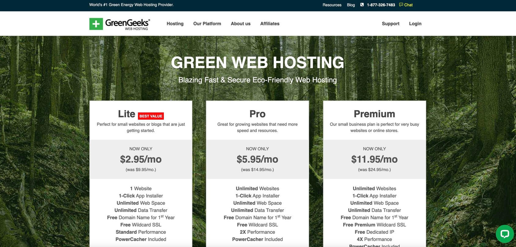 Greengeeks homepage