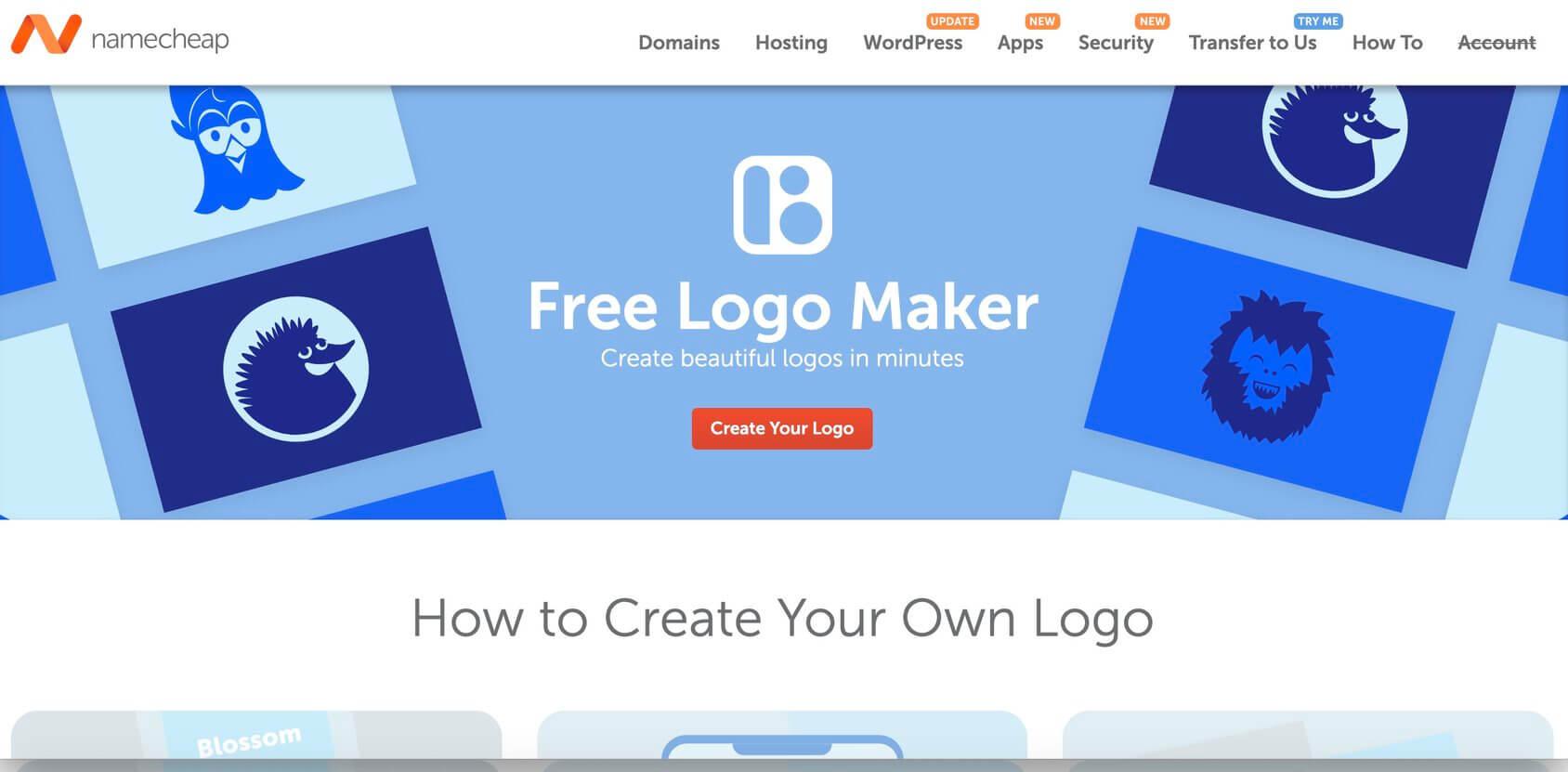 NameCheap Logo Maker homepage