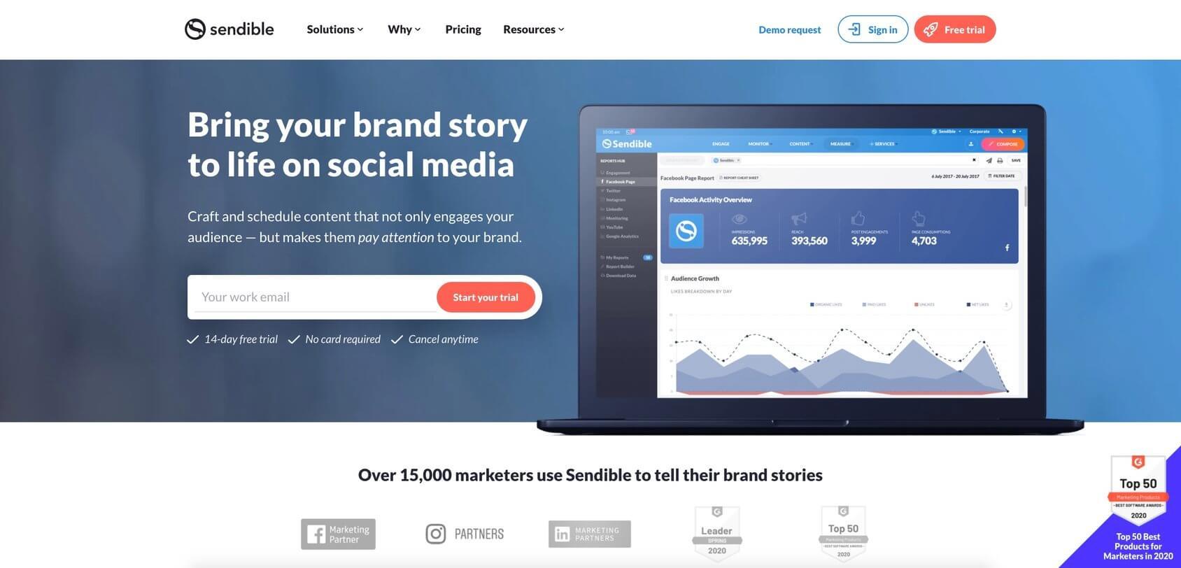 Sendible homepage