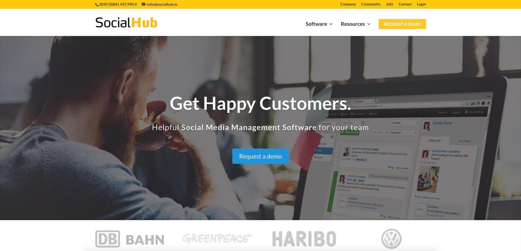SocialHub homepage