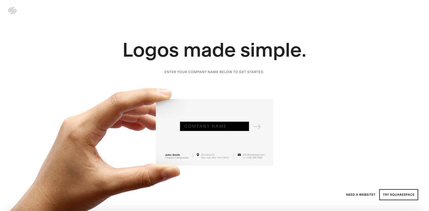 Squarespace Logo Maker homepage
