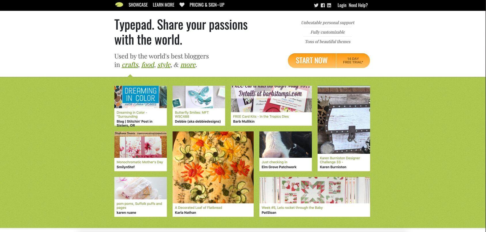 TypePad homepage