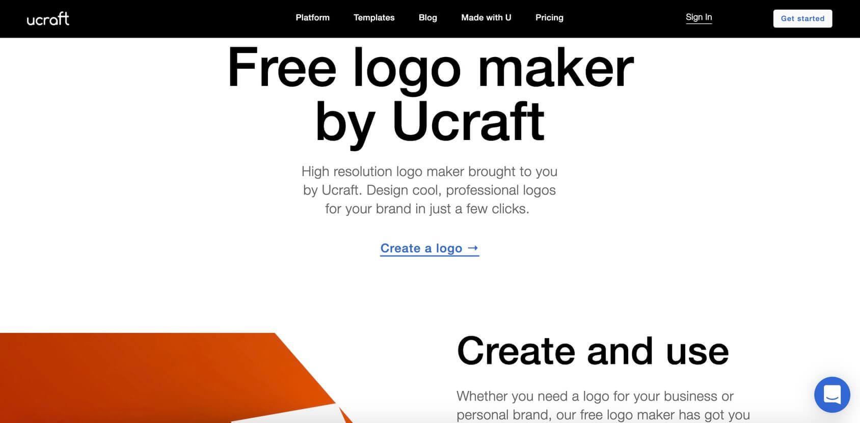 Ucraft Logo Maker homepage