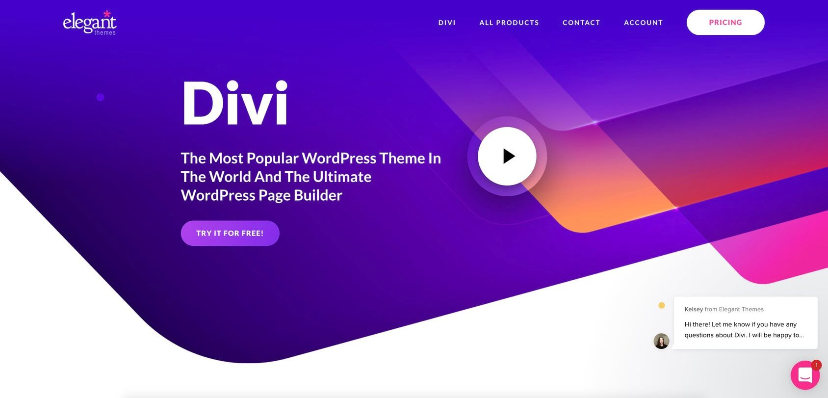 Divi ElegantThemes homepage