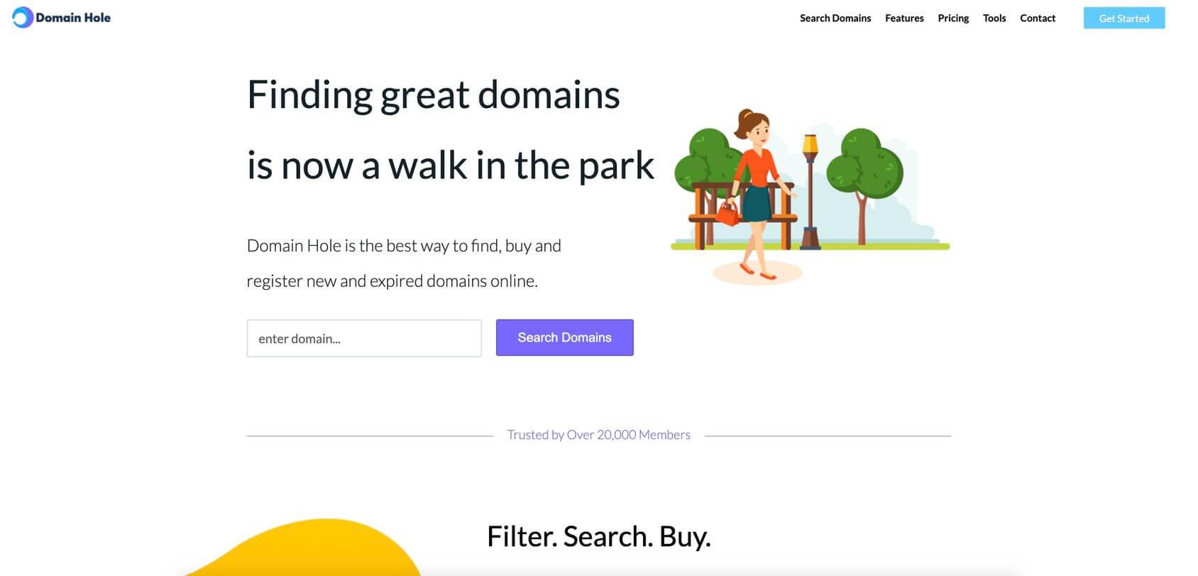 Domain Hole homepage