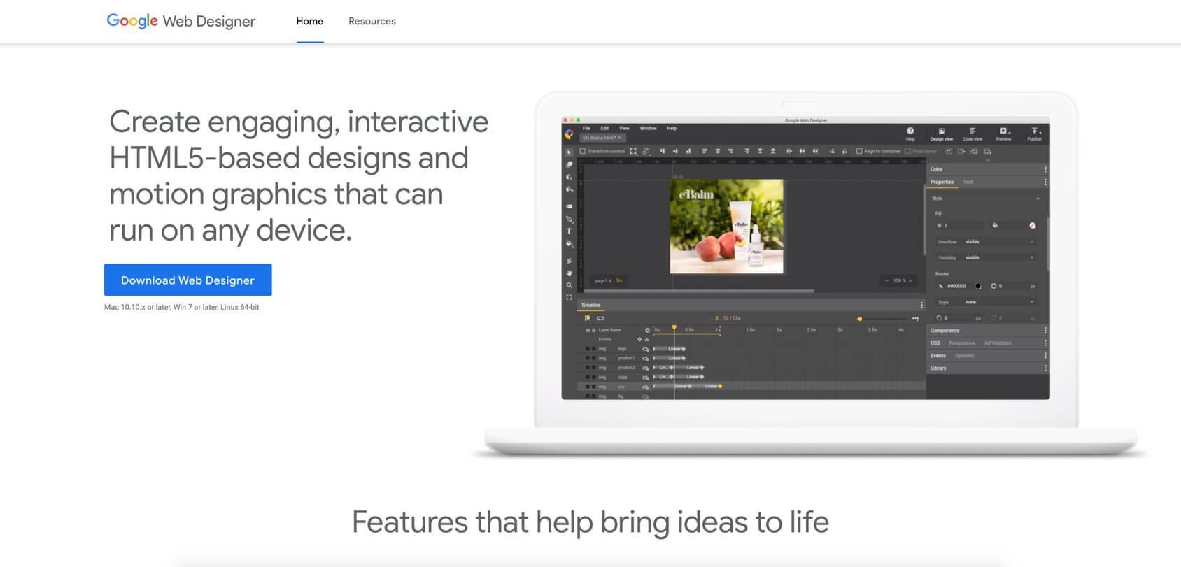 Google Web Designer homepage