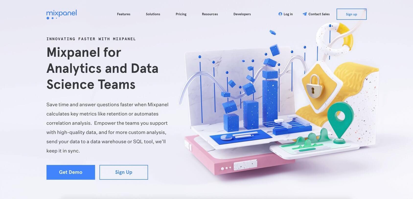 Mixpanel homepage