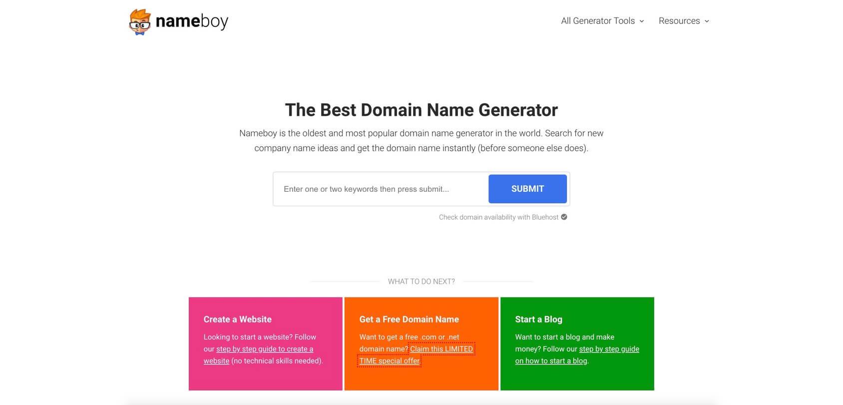 Nameboy homepage