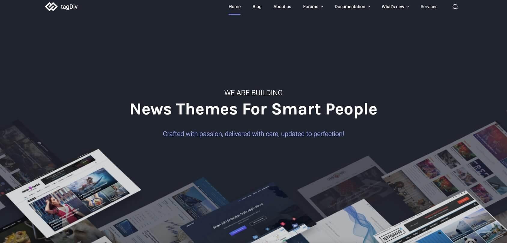 TagDiv homepage
