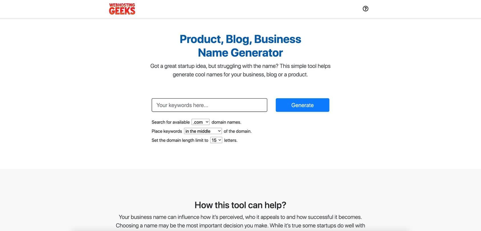 WHG Name Ideas homepage