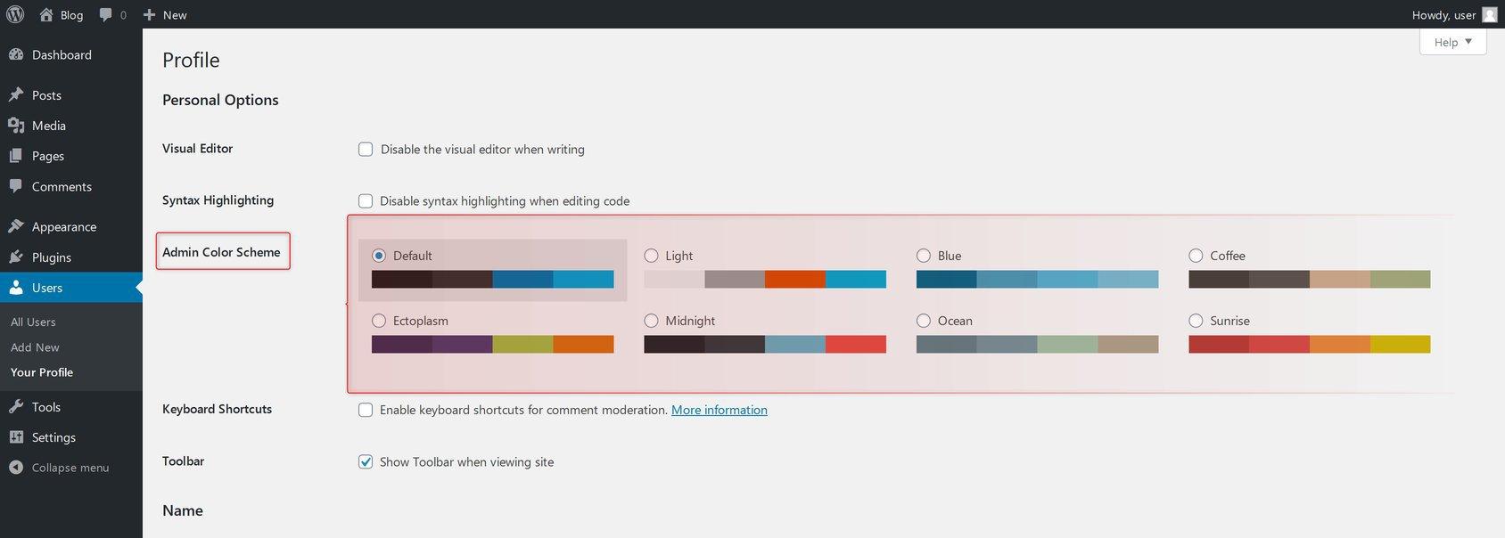 Admin Color Scheme Option