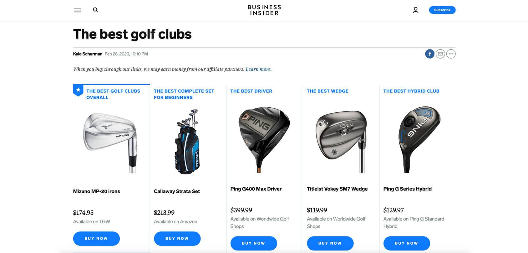 afiliate golf clubs