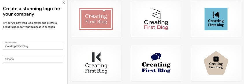 bluehost logo maker step1