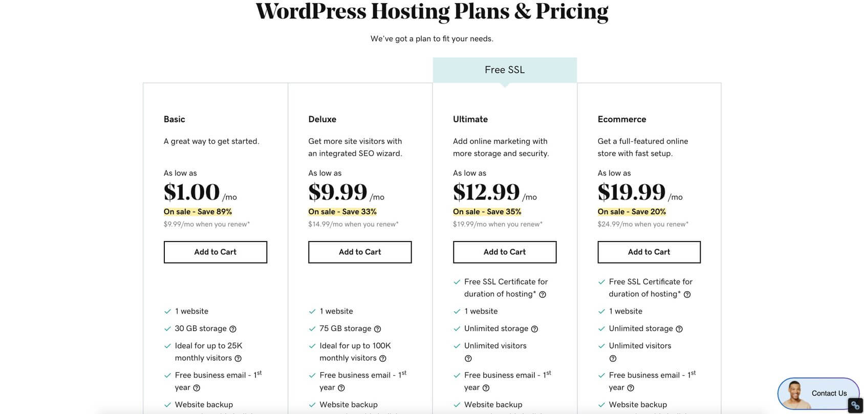 GoDaddy WordPress Plans