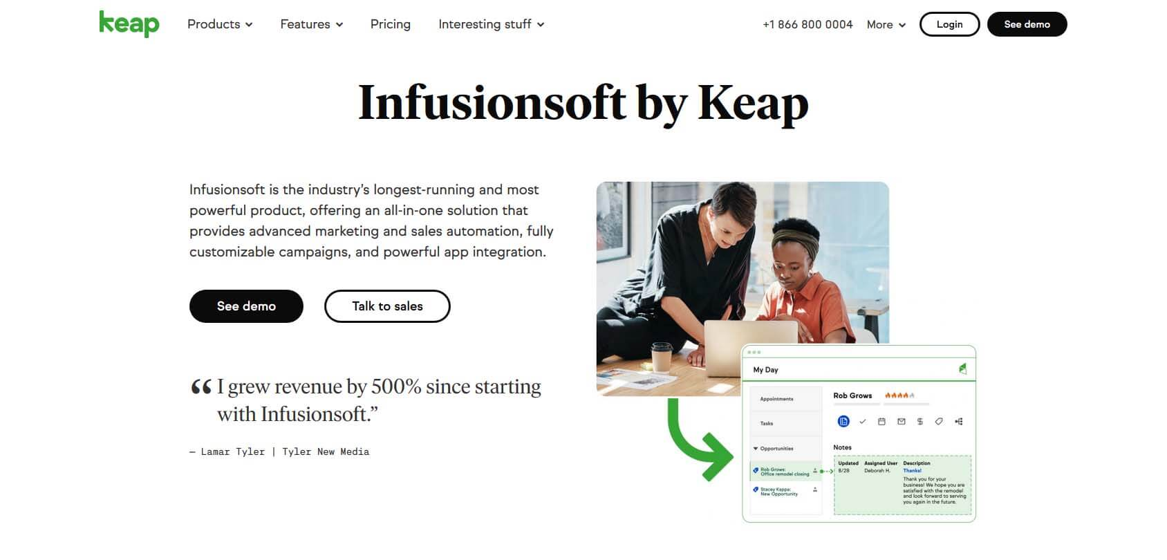 InfusionSoft homepage